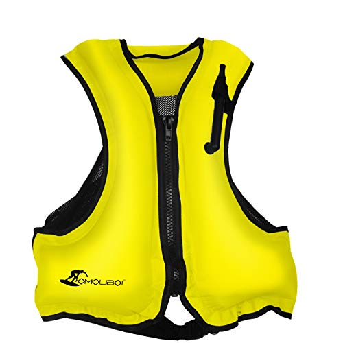 OMOUBOI Inflatable Snorkel Jacket Adult with Leg Straps for Men Women Snorkel Vest for Snorkeling Diving Swimming (Yellow)