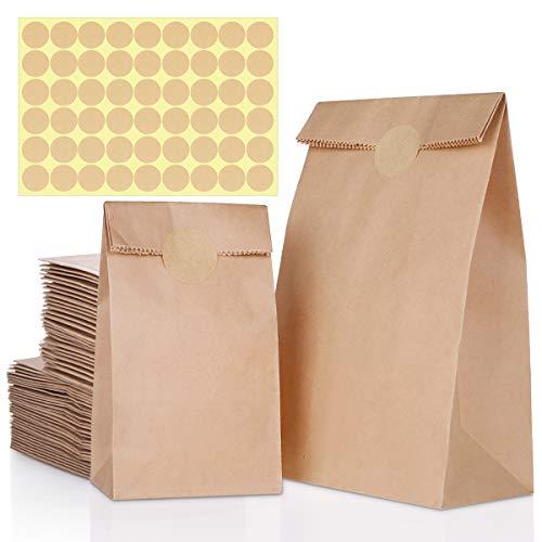 Braun Papiertüten, 80 Stück Kraftpapiertüten Enthält 2 Größen Papier Tüten für Geschenktüten Ostertüten Brot Belegte Brote Keks Süßigkeiten