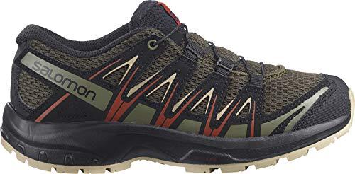 Salomon XA Pro 3D J, Zapatillas Impermeables De Trail Running Y Outdoor Actividades con Sistema Fácil De Lazada, Verde Oliva/Negro (Olive Night/Safari/Rooibos Tea), 38 EU