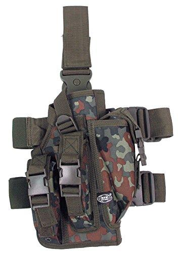Pistolenbeinholster, flecktarn, Bein- und Gürtelbefestigung, rechts
