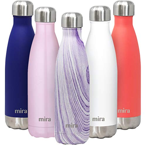 MIRA 17 Oz Stainless Steel Vacuum Insulated Water Bottle - Double Walled Cola Shape Thermos - 24 Hours Cold, 12 Hours Hot - Reusable Metal Water Bottle - Leak-Proof Sports Flask - Purple Granite