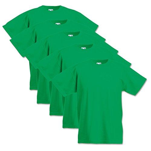5 Fruit of the loom Kinder T-Shirts Valueweight 104 116 128 140 152 Diverse Farbsets auswählbar 100% Baumwolle (128, Maigrün)
