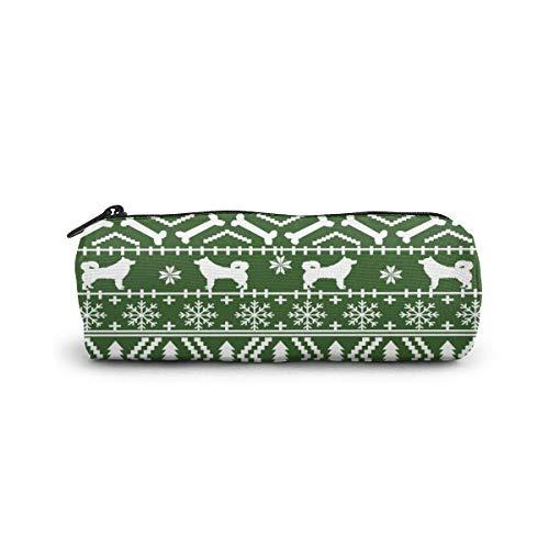 Alaskan Malamute Fair Isle Weihnachts-Silhouette Hund Rasse Stoff grün Zylinder-Federmäppchen Halter Reißverschluss Stifttasche Studenten Schreibwaren Kosmetiktasche