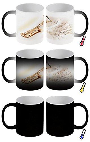 Zaubertasse Farbwechseltasse Kaffeebecher Tasse Becher Latte Cappuccino Espresso Star Saxophon Noten