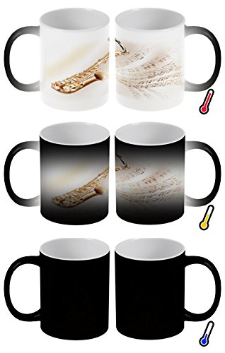 LEotiE SINCE 2004 Zaubertasse Farbwechseltasse Kaffeebecher Tasse Becher Latte Cappuccino Espresso Star Saxophon Noten