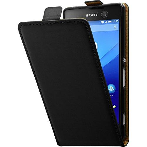 PhoneNatic Kunst-Lederhülle kompatibel mit Sony Xperia M5 - Flip-Hülle schwarz + 2 Schutzfolien