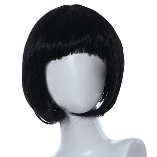 Perruque Femmes Toamen Tête d'onde de couleur Qi Liuhai Perruques Mascarade Petit rouleau Des cheveux court et lisse (Noir)