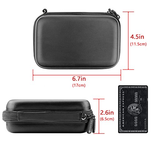 Geekria Hard Shell GPS Case for Garmin Drive, Garmin dezl, Nuvi, LMT, Tomtom Via, XXL, XL, GO, Start, GPS Navigator Protective Travel Bag with Space for Cable, Keys, Changer (Black)