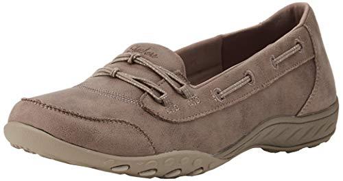 Skechers Breathe-easy - Sole-full Zapatillas sin cordones Mujer, Beige (Taupe Micro Leather/Natural Trim Tpe), 41 EU