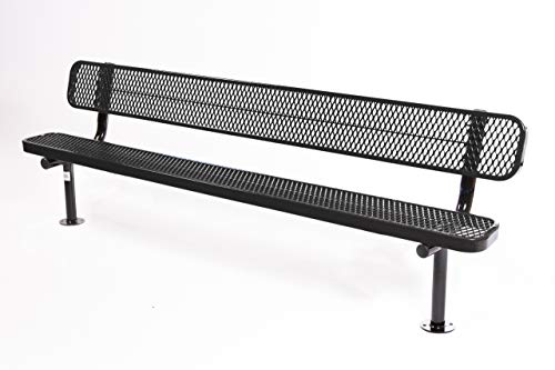 Coated Outdoor Furniture B8WBS-BLK Park Bench Back, 8 Feet, Black