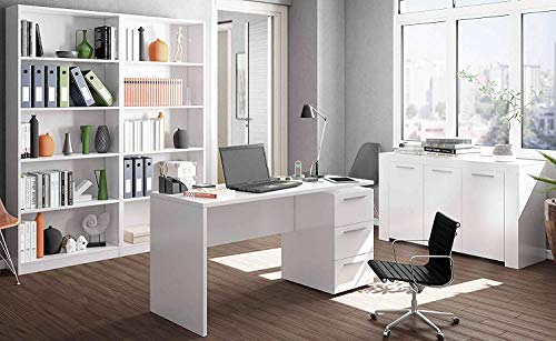 Miroytengo Conjunto Muebles despacho Blanco mobiliario Moderno (Mesa Escritorio+Aparador+2 Estanterías)