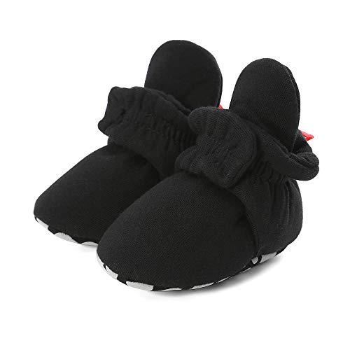 LACOFIA Botas Antideslizantes de Suela Blanda para bebé niño o niña Zapatos de calcetín de bebé Invierno Negro 12-18 Meses