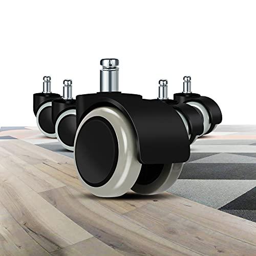 bürostuhl rollen(5er Set) - 11 MM /22 MM Ersatz-hartbodenrollen für Gaming-Stühle, Drehstühle, Gummitisch- und Stuhlrollen zum Schutz des Bodens, ideal für Parkett-, Laminat-, Fliesen- und Steinböden
