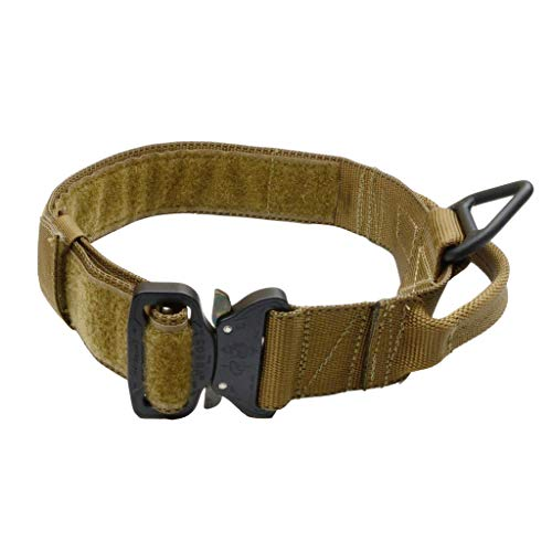 Redline K9 Maxtac 1.75' Coyote Brown Service Dog Id Collar with Handle & Cobra Buckle Fits Neck Size 19' - 25'