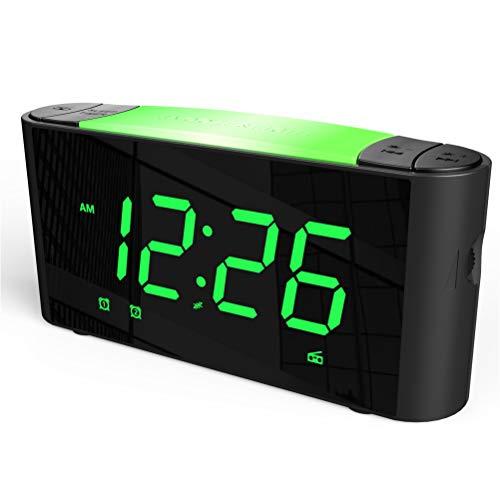 SICSMIAO Digital Alarm Clock Radio, Alarm Clocks for Bedrooms, FM Radio, 3 Color Displays, 7 Color Night Light, Dual USB Charging Ports, Sleep Timer, Dimmer, Snooze, Battery Backup for Kids, Elderly.