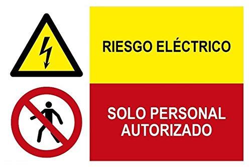 MovilCom® - Adhesivo combinado ¡PELIGRO! RIESGO ELECTRICO/PROHIBIDO SOLO PERS AUTORIZADO 600X400mm señal...