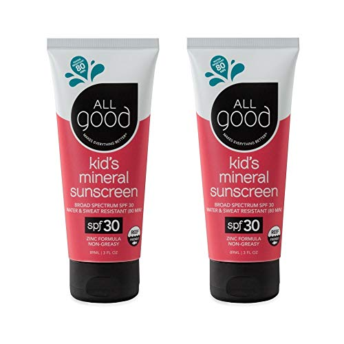 All Good Baby & Kids Mineral Sunscreen Lotion - SPF 30 - Zinc Oxide - Coral Reef Safe - Water Resistant - UVA/UVB Broad Spectrum (3 oz)(2-Pack)