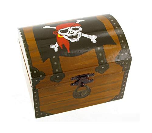 Caja de música para joyas / joyero musical de madera sobre el tema de los piratas con moneda de oro giratoria (Ref: 22180-MOD) - El tema de Davy Jones - Piratas del Caribe (Hanz Zimmer)