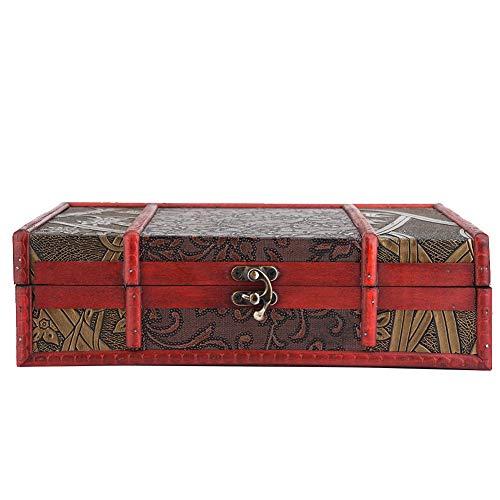 DEWIN Vintage Style Klassische Holzkiste Organizer Schmuck Aufbewahrungsbox Display Container(Grasblume)