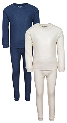 'Snozu Boys 2-Pack Thermal Warm Underwear Top and Pant Set, Navy/Natural, Size 10/12'