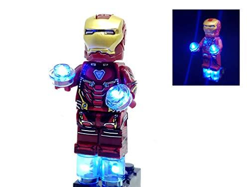 BlingBlingBrick Marvel Avengers Super Heroes – Handmade LED Light Up Iron Man Minifigure with Mark 47 Armor (76108)