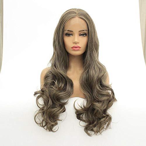 Lin gris gros cheveux longs et bouclés ondulés, 20 pouces, perruque avant en dentelle, cheveux artificiels, soie haute température en fibres chimiques, utilisée pour les femmes au quotidien