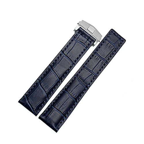 SSXPNJALQ Pulsera de Cuero Genuino 19 mm 20 mm 22 m para la Etiqueta Heuer Reloj de Relojes Hombres Relojes de Pulsera Accesorios de Banda Pliegue la Correa de Reloj de Cuero de la Hebilla