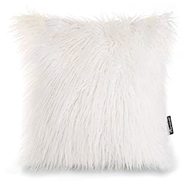 Phantoscope Decorative New Luxury Series Merino Style White Fur Throw Pillow Case Cushion Cover 18  x 18  45cm x 45cm