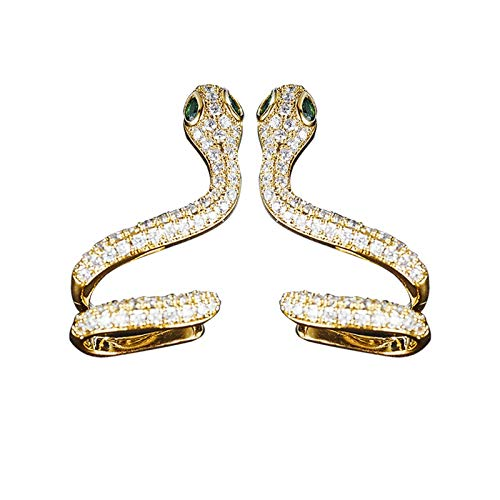 Pendientes para mujer, diseño de serpiente perforada, circonita cúbica, para cartílago, color amarillo