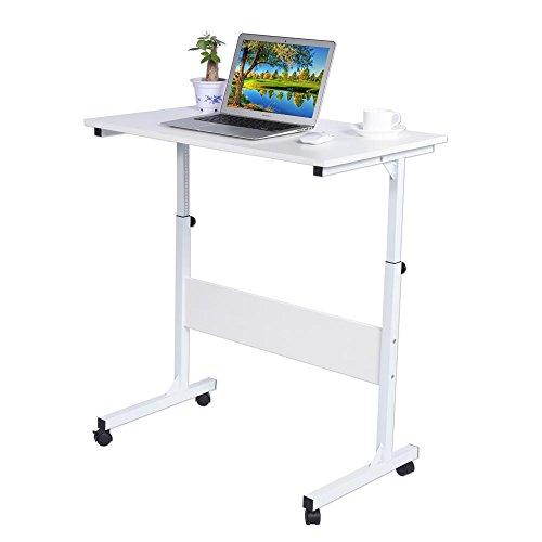 Mesa Ajustable de Ordenador Portatil con Ruedas Bloqueables, Escritorio de Computadora para Cama Sofá, Carro para Laptop, Mesa de Escritura Estudio para Hogar Oficina Dormitorio Escolar, Blanco
