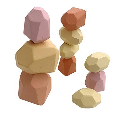 Toporchid Blocs de Construction en Pierre de Couleur en Bois pour Enfants, Jeu d'empilage, Jouets éducatifs, Ornements (Couleur)
