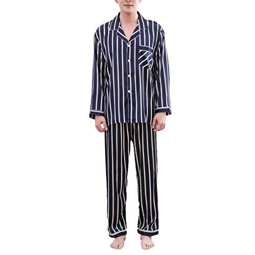 Liebespaar Tops,SANFASHION Damen Herren Casual Spring Stripe Printing Langärmeliges bequemes Pyjama-Set Valentinstag Fuer ihn/sie