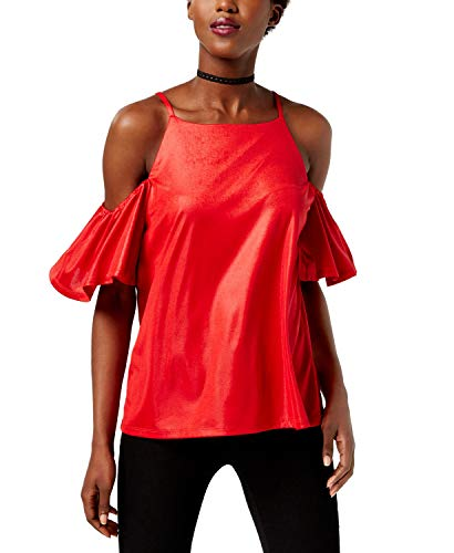 INC International Concepts Women's Cold-Shoulder Top Real Red Large
