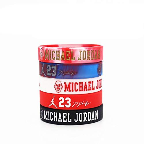 GEHIYPA Chicago Bulls Basketball-Silikon-Armband, wasserdicht, 5 Stück, verschiedene Farben, Sportgeschenke, Partygeschenke und Zubehör, Michael Jordan, 5 PCS