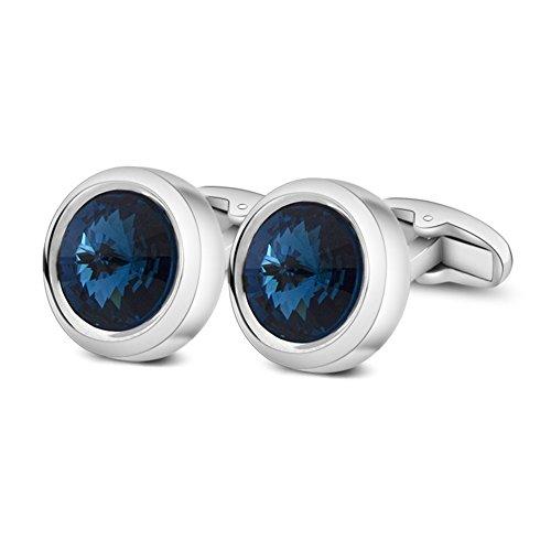 MERIT OCEAN Uomo Stile Elegante Cuff Link Super Brillante Cristallo Swarovski Blu Navy Circolare Gemelli