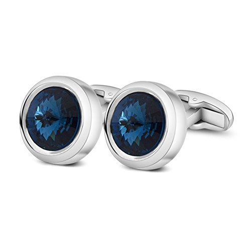 MERIT OCEAN Eleganten Stil Manschette Link Super glänzend Swarovski Marineblau Blau Kristall Circular Manschettenknöpfe Herren mit Geschenkbox