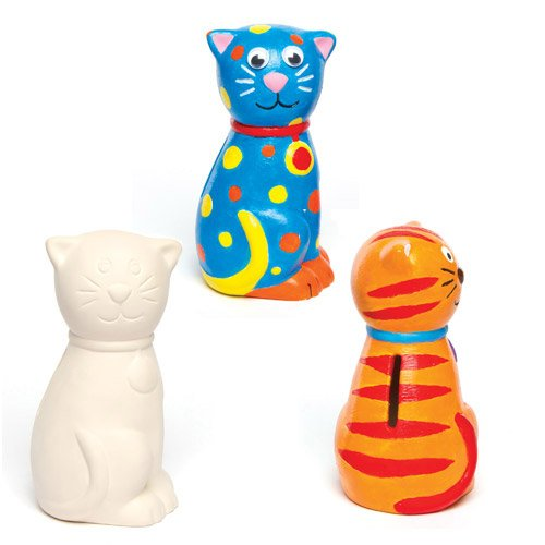 """Baker Ross AG761 Spardosen """"Katze"""" aus Keramik für Kinder zum Bemalen und Dekorieren (2 Stück), Ceramic, 12 cm, 2 Pack"""