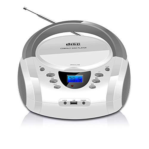 LONPOO Lettore CD Portatile, Radio Portatili Boombox Lettore MP3 Portatili con USB, AUX in, Bluetooth e Jack per Cuffie