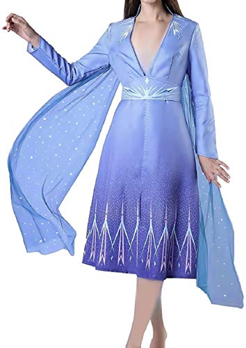 KIRALOVE Disfraz Elsa Mujer - niña - Carnaval - Disfraces para Adultos - Halloween - Deluxe - Manto - Navidad - Dibujos Animados - Color Azul - Talla l Cosplay