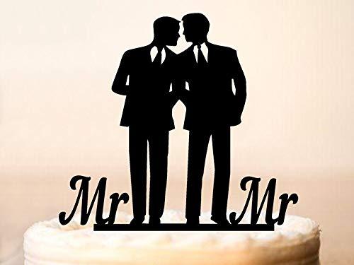 Gay Tortenaufsatz für Hochzeit, gleicher Sex Kuchenaufsatz, Gay Silhouette, Hochzeitstortenaufsatz für Männer, Geschenk, Gay Men