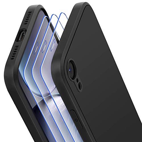 Losvick Coque pour iPhone XR, 3X Verre trempé Protection écran, Silicone Liquide Souple Antichoc Bumper Etui Doublure en Microfibre Housse Anti-Rayures Cover Case pour iPhone XR -6.1 Pouces -Noir