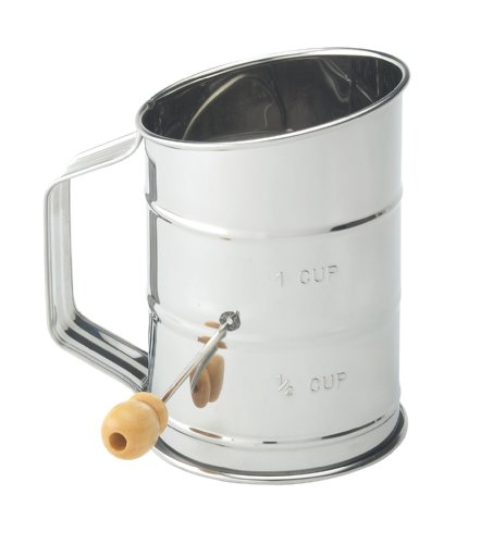 Mrs. Anderson's Baking Hand Crank Flour Icing Sugar Sifter, Stainless Steel, 1-Cup