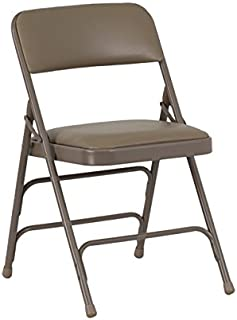 Flash Furniture 4 Pk. HERCULES Series Curved Triple Braced & Double Hinged Beige Vinyl Metal Folding Chair