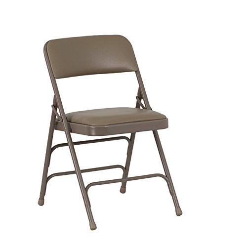 Flash Furniture HERCULES Series Curved Triple Braced & Double Hinged Beige Vinyl Fabric Metal Folding Chair