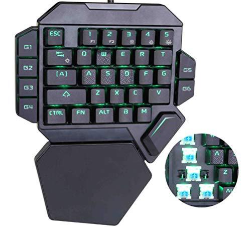 ZHHAOXINPA Gezellige Gaming Keyboard Een Handed Mechanische Gaming Keypad Half Toetsenbord Multimedia Functie Sleutel Draagbare Mini Enkele Gamer Keypad met Polssteun voor Computer/pc/laptop Klassiek