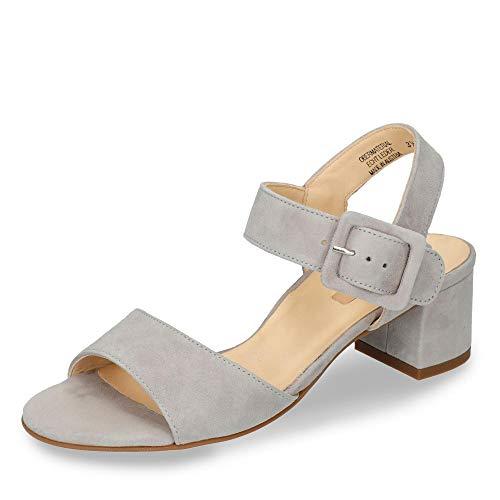Paul Green 7456-034 Damen Elegante Sandalette aus Veloursleder mit 45-mm-Absatz, Groesse 38 1/2, grau
