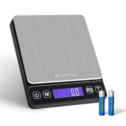 Digital Pocket Scale - 0.1g /3000g Small Portable Electronic Postal Scale with Back-Lit LCD Display (Batteries Included)