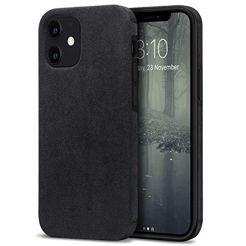 TENDLIN Funda iPhone 12 / Funda iPhone 12 Pro Hecho de Alcantara Material Carcasa de Híbrida de Silicona Compatible con iPhone 12 y iPhone 12 Pro (Negro)