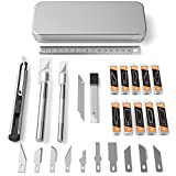 Nicpro 43 PCS Hobby Knife Set with Metal Case, Craft Knife with Various SK-5 Hobby Art Blades for Precision Cutting, Crafting, Art Carving, Leather & Wood Cutting Tools, Sharp Pen Knife, Utility Knife