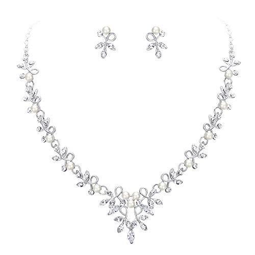 Clearine Damen Hochzeit Braut Schmuckset CZ Kristall Simulierte Perle Blatt Rebe Zweig Halsband Halskette Ohrringe Set Klar Silber Ton